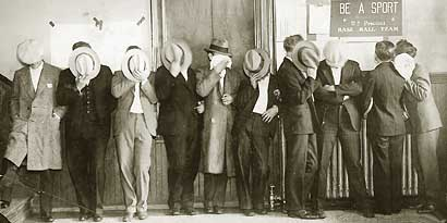 Members of The Purple Gang Hiding Their Faces From Camera 1929